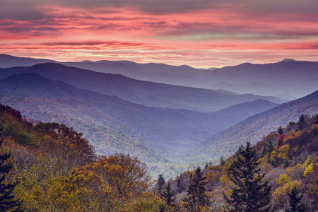 newfound gap: Dawn in the Smoky Mountains National Park, Tennessee, USA. Stock Photo