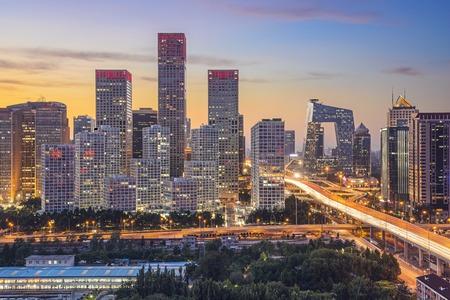 中央ビジネス地区で、中国北京スカイライン。
