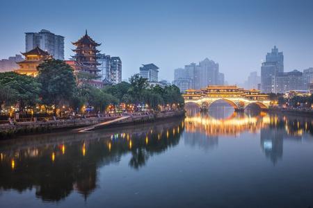 Chengdu, Sichuan, Chine à Anshun Bridge. Banque d'images