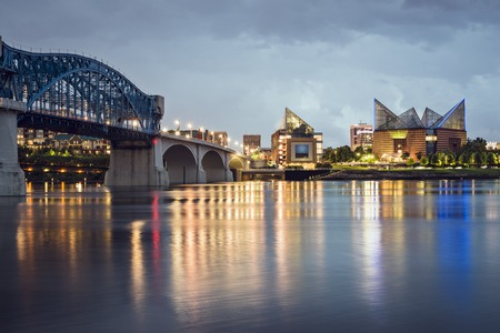 riverfront: Chattanooga, Tennessee, USA downtown skyline at night.