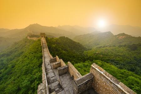 Great Wall of China. Unrestored sections at Jinshanling. Stock Photo