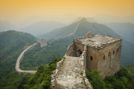simatai: Great Wall of China. Unrestored sections at Jinshanling. Stock Photo