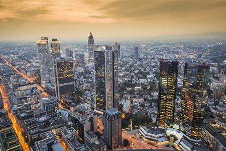 Frankfurt, Germany Cityscape at night. photo