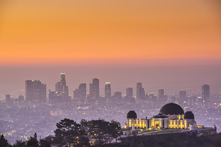 observatory: Los Angeles, California, USA downtown skyline from Griffith Park. Stock Photo