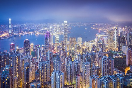 hk: Hong Kong, China city skyline from Victoria Peak. Stock Photo