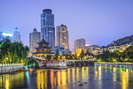 naming: Guiyang, China skyline at Jiaxiu Pavilion on the Nanming River.