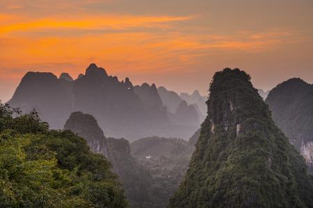 guilin: Karst mountain landscape in Xingping, Guangxi Province, China. Stock Photo