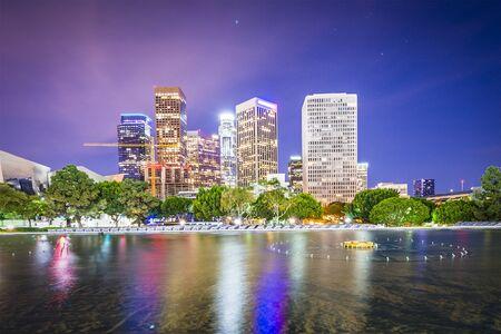 Los Angeles, California, USA downtown skyline at night. photo