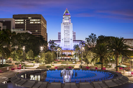 los angeles: Los Angeles, California, USA downtown at city hall. Stock Photo