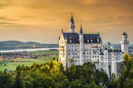 ludwig: Neuschwanstein Castle in the Bavarian Alps of Germany. Editorial