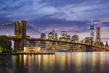 New York City, Verenigde Staten op twilight. Stockfoto