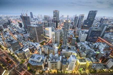 Osaka, Japan aerial cityscape in the Umeda District. Stock Photo