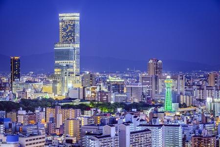 Osaka, Japan op Abeno District en Shinsekai wijken.