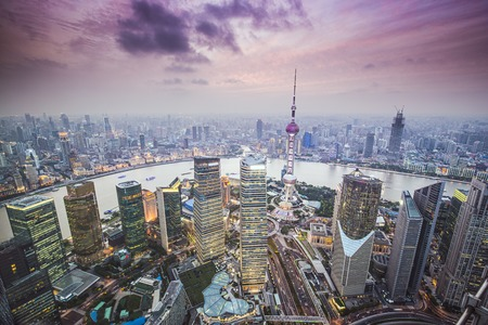 pudong: Shanghai, China aerial view of the Pudong financial district.