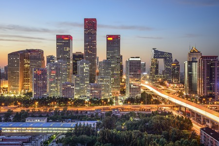 night scenery: Beijing, China skyline at the central business district.