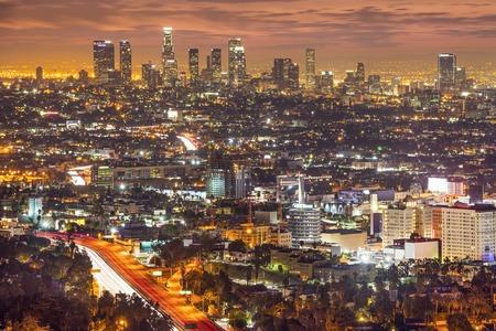Los Angeles, California, USA downtown skyline at night.