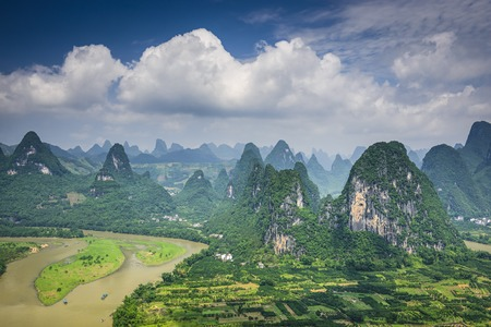 Karst mountain landscape in Xingping, Guangxi Province, China. Banco de Imagens