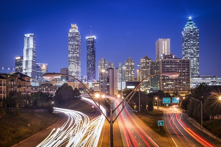 traffic lights: Atlanta, Georgia, USA skyline at night.