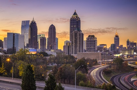 Atlanta, Georgia downtown skyline at sunrise. Stok Fotoğraf