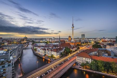 east germany: Berlin, Germany city skyline at dusk.