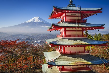 temple tower: Mt. Fuji and Pagoda during the fall season in Japan.