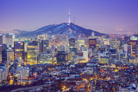 Seou, South Korea city skyline at twilight.