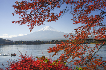 Mt. Fuji, Japan at Lake Kawaguchi during the autumn season. Stock Photo