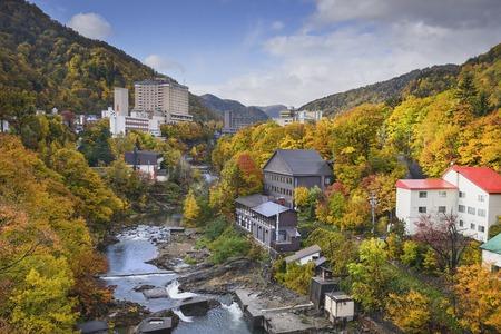 sapporo: Jozankei, Hokkaido, Japan in the fall season.