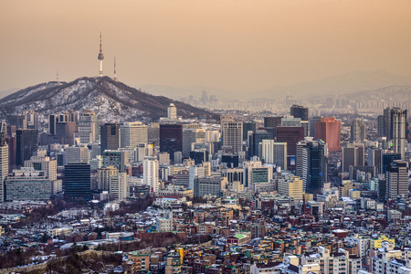 Seoul, South Korea City skyline. Imagens