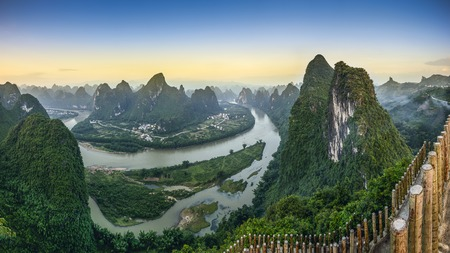 the valleys: Karst mountain landscape on the Li River in Xingping, Guangxi Province, China.