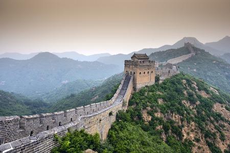 muralla china: Gran Muralla de China. Sin Restaurar secciones en Jinshanling. Foto de archivo