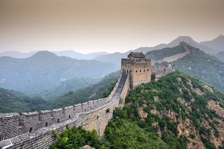 the ancient pass: Great Wall of China. Unrestored sections at Jinshanling. Stock Photo