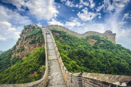 stone stairs: Great Wall of China. Unrestored sections at Jinshanling. Stock Photo