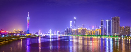china city: Guangzhou, China city skyline panorama over the Pearl River.