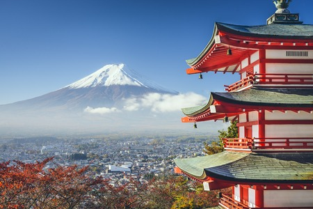 mt fuji: Mt. Fuji, Japan viewed from Chureito Pagoda in the autumn.