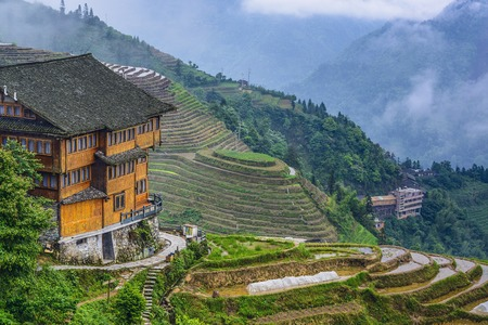 guilin: Inn overlooking the village of Longsheng in Guangxi Province, China.
