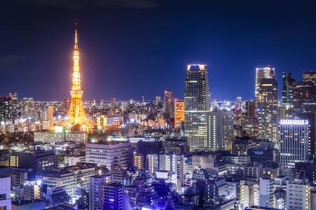 Tokyo, geceleri Japonya silüeti. Stok Fotoğraf
