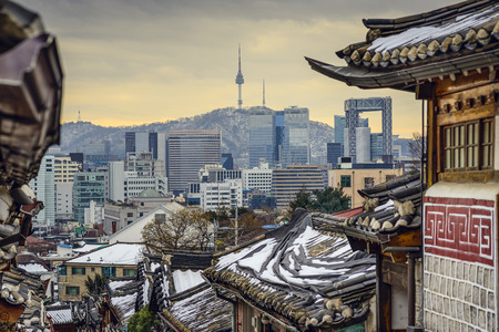 villages: Seoul, South Korea at the Bukchon Hanok historic district.