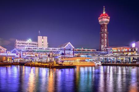 navigational light: Fukuoka, Japan city skyline at the port.