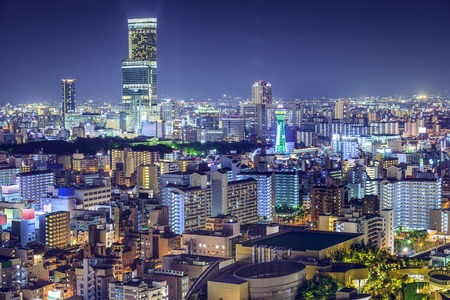 tallest: Osaka, Japan at Abeno District and Shinsekai districts. Stock Photo