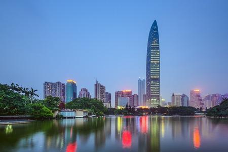 futian: Shenzhen, China city skyline at twilight.