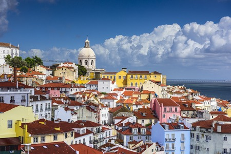 Lisbon, Portugal skyline at Alfama, the oldest district of the city. photo