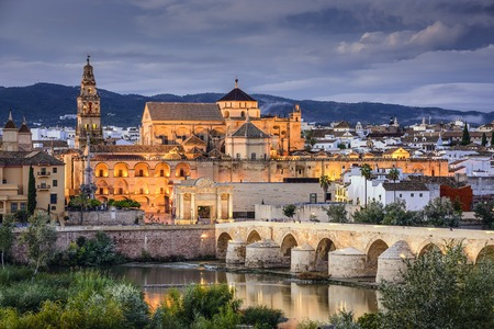 Cordoba, Spain at the Roman Bridge and Town Skyline on the Guadalquivir River.
