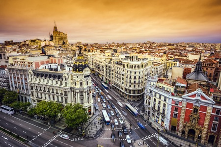 via: Madrid, Spain cityscape above Gran Via shopping street.