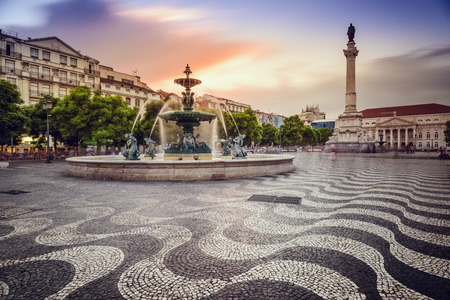 Lisbon, Portugal at Rossio Square. 스톡 콘텐츠