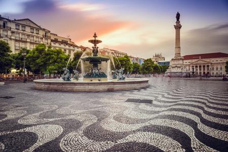 town square: Lisbon, Portugal at Rossio Square. Stock Photo