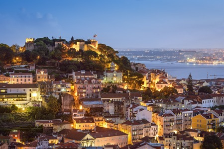 city scape: Lisbon, Portugal skyline at Sao Jorge Castle.