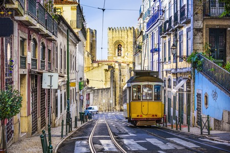 streetcar: Lisbon, Portugal tram.
