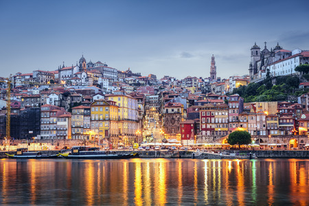 river: Porto, Portugal cityscape across the Douro River. Stock Photo