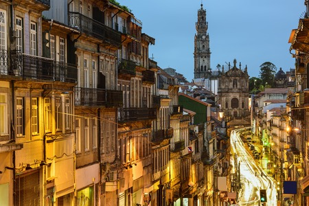 oporto: Porto, Portugal cityscape towards Clerigos Church. Stock Photo